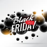 fundo preto venda de sexta-feira com esferas 3d abstratas