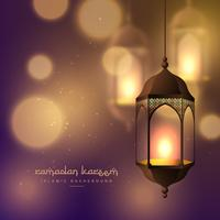 beautiful hanging lamps on blurred bokeh background for ramadan