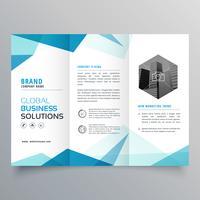 Plantilla de diseño de folleto tríptico negocio abstracto azul