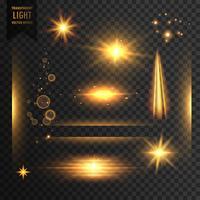 uppsättning genomskinliga ljus, gnistrar och linsflareffekten backgr