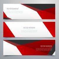Banners geométricos rojos y blancos set diseño