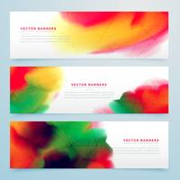 stylish colorful watercolor banners set design