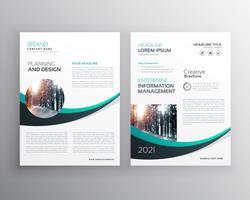 brochure design with blue wave shape template