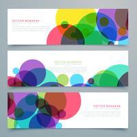 conjunto de banners com círculos coloridos abstratos
