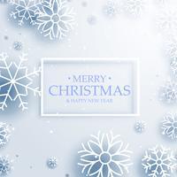 schöne Winterschneeflocken auf weißem Hintergrund. Fröhliche Weihnachten