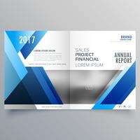 blauwe zakelijke bi vouw brochure ontwerpsjabloon in geometrische shap