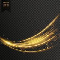 Fondo de efectos de luz de onda transparente de vector en color dorado