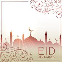 eid festival greeting card besutiful background with floral deco
