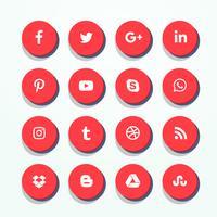 Pack d'icônes de médias sociaux rouge 3d