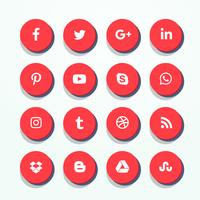 3d red social media icons pack