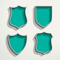 3d retro style four badges set