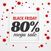 Cartel de mega venta de viernes negro con puntos rojos