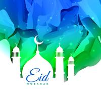 islamic eid festival greeting card design with abstract backgrou