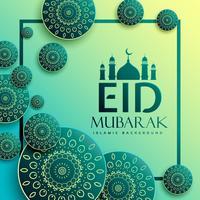 Diseño de saludo del festival eid con elementos de patrón islámico.