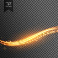 golden light streak transparent effect background