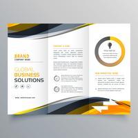 modello di design brochure pieghevole tri affari con blac giallo ondulato