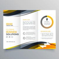 tri fold business brochure design template with wavy yellow blac