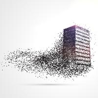 building made from black particles