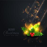 fond noir avec de belles feuilles de Noël brillantes