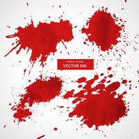 collection of red ink splatter vector