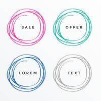 scribble style circle banners set