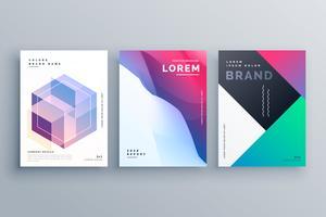 conjunto impressionante de brochura de negócios abstratos em estilo criativo