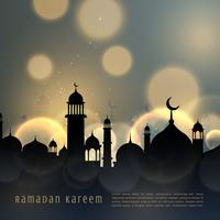Ramadán kareem saludo estacional islámico con efecto bokeh