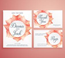 Sauvez le modèle de carte d'invitation de mariage date belle fleur