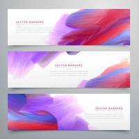 set of three watercolor paint banners