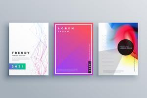 minimale brochureset gemaakt met lijnen en vloeiende kleuren