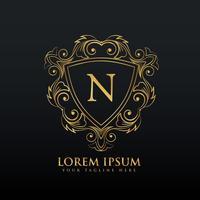 Buchstabe N Logo-Design mit Schnörkel-Dekoration
