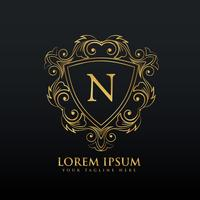 letter N logo design with flourish decoration