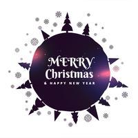 Fondo feliz Navidad con árboles y copos de nieve