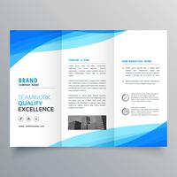 blue trifold business brochure design with wave