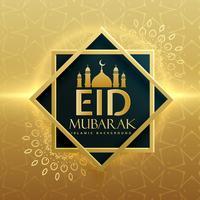 Diseño de tarjeta de felicitación de festival islámico eid mubarak superior