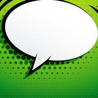 comic chat bubble on green background with halftone effect