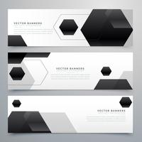 abstract hexagonal black header banners background