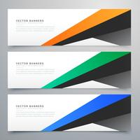banners geométricos modernos conjunto de três