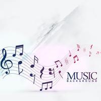 notas de música abstrata fundo de onda