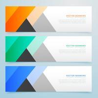 jeu de bannières colorées géométriques élégantes