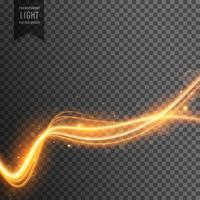 vague de feu doré qui coule sur fond transparent avec des étincelles
