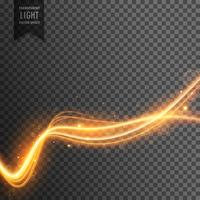 Gyllene brandvåg flödar på transparent bakgrund med gnistar