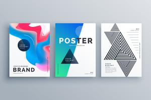 minimal poster design set with three different style
