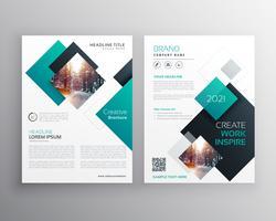 Plantilla de volante de informe anual de diseño de portada de folleto azul moderno