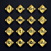 golden premium social media icons set