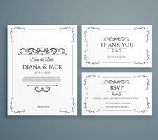 convite de casamento limpo, cartão thankyou, salvar o modelo de data