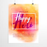 conception de flyer festival holi créatif avec fond coloré