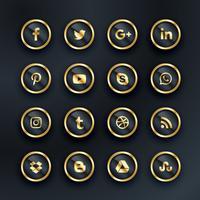 pacote de ícones de mídia social de estilo de luxo