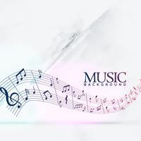 fundo musical abstrato com onda de notas