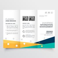 elegant tri fold brochure design in creative geometric shape sty